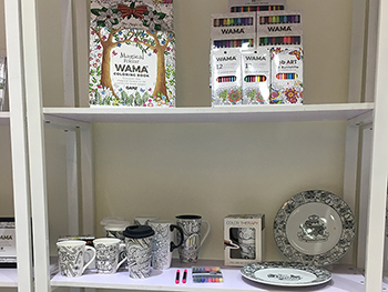 Our WAMA brand with best-selling items including coloring books, pencils, mugs, etc.