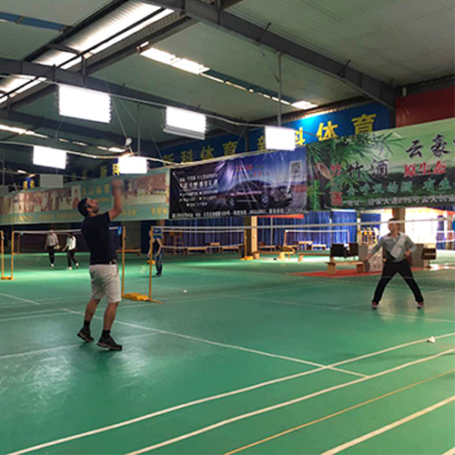 We play badminton together