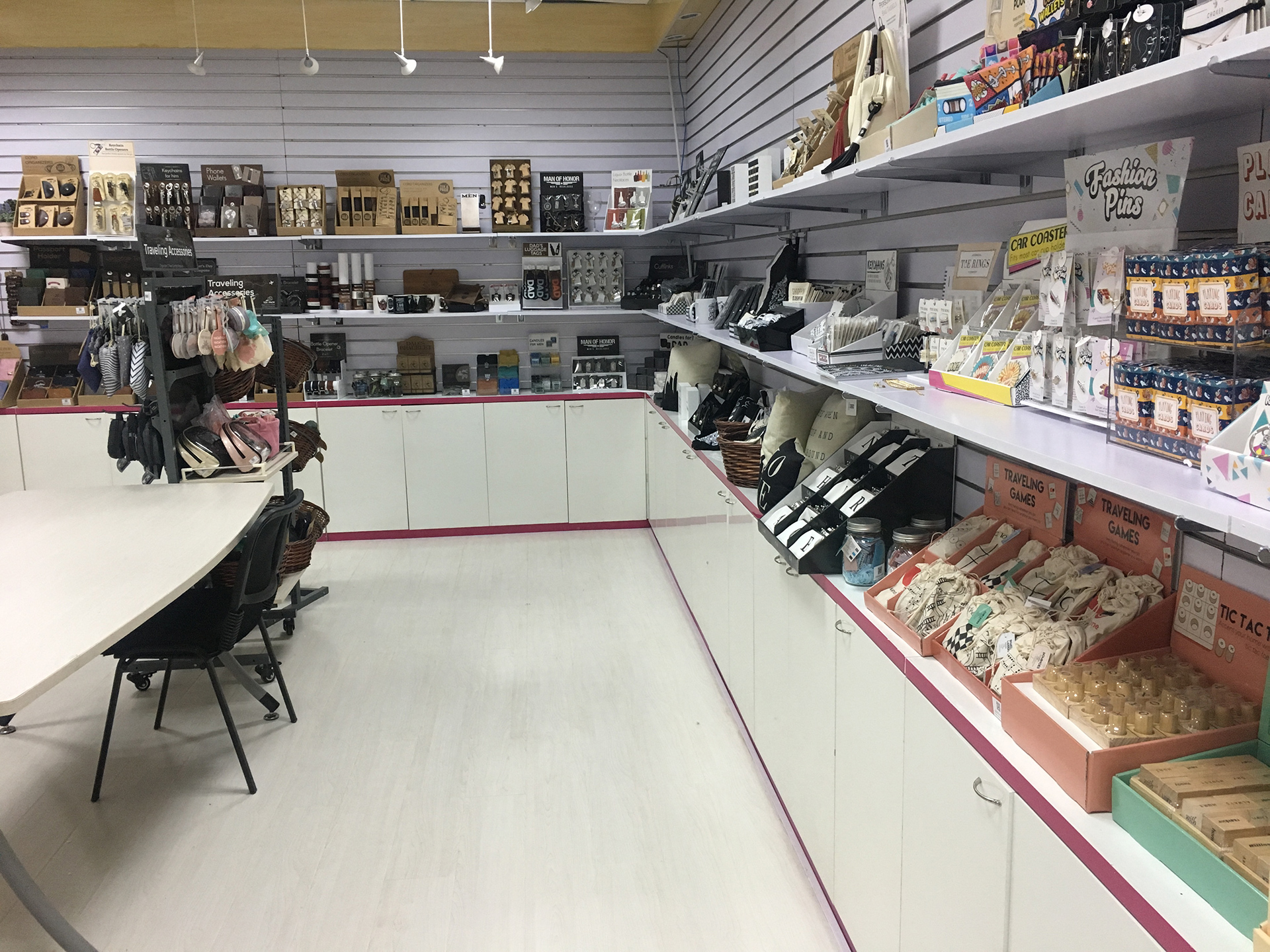 Another shot of 1000 Miles company showroom, featuring our assorted gift products